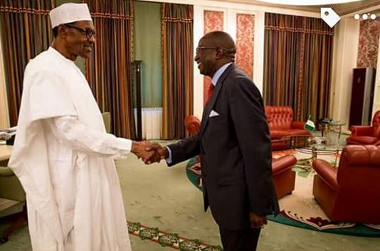 President Buhari meeting with the Chairmanship nominee of the Board of the NDDC, Senator Victor Ndoma Egba in Aso Rock villa