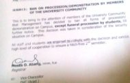 UNICAL GATE: Management Bans Processions And Demonstrations