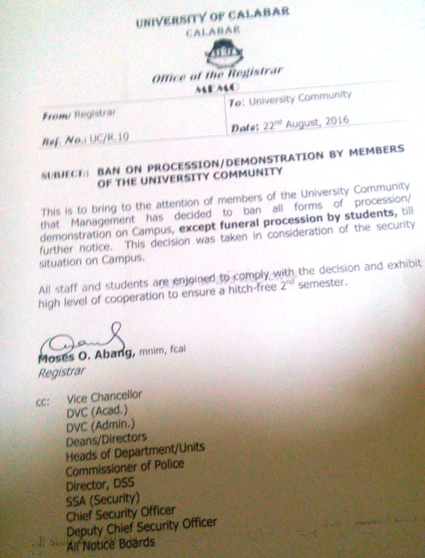 Copy of the notice banning processions in UNICAL