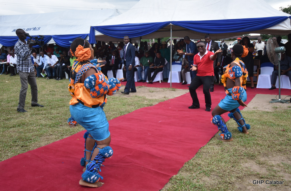Dancing with the traditional dance troupe
