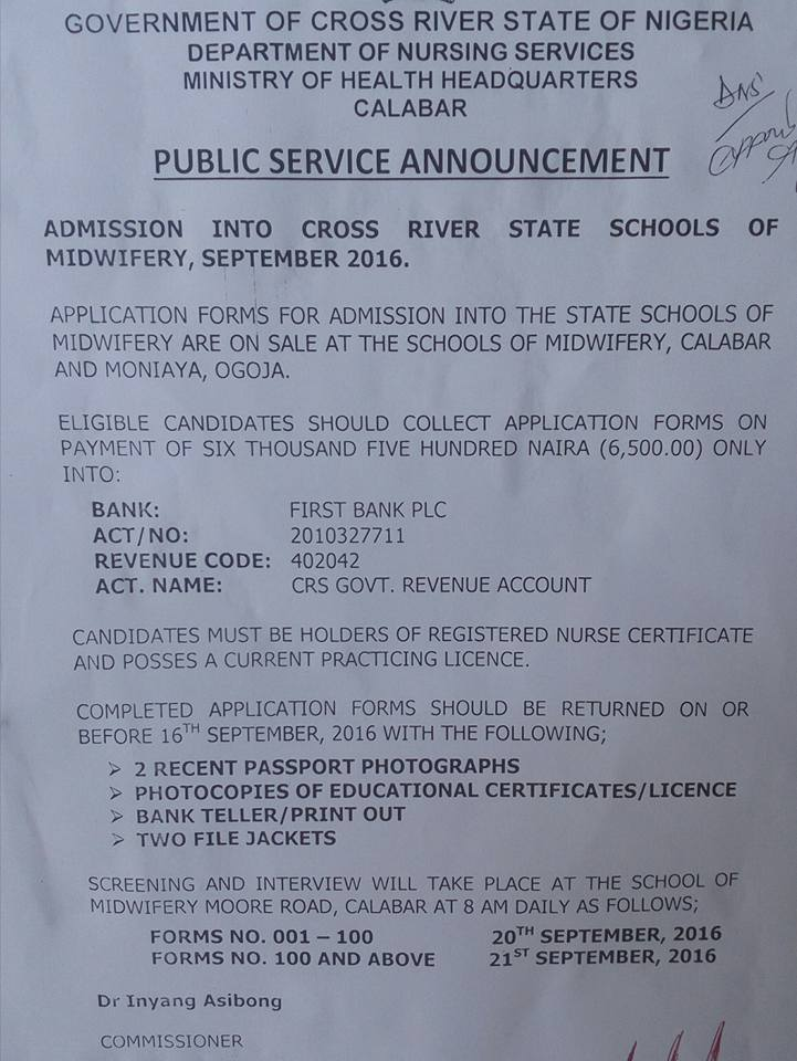 Admission notice for Cross River State Schools of Midwifery