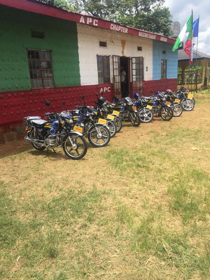 Motorcycles for ward chairmen displayed at the new APC secretariat