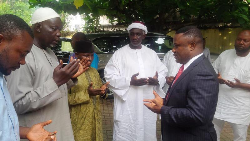 Governor Ayade praying with some Muslims in Calabar (file pix)