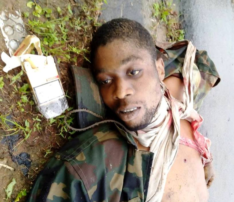 One of the seven militants killed by the Army in Bakassi this morning