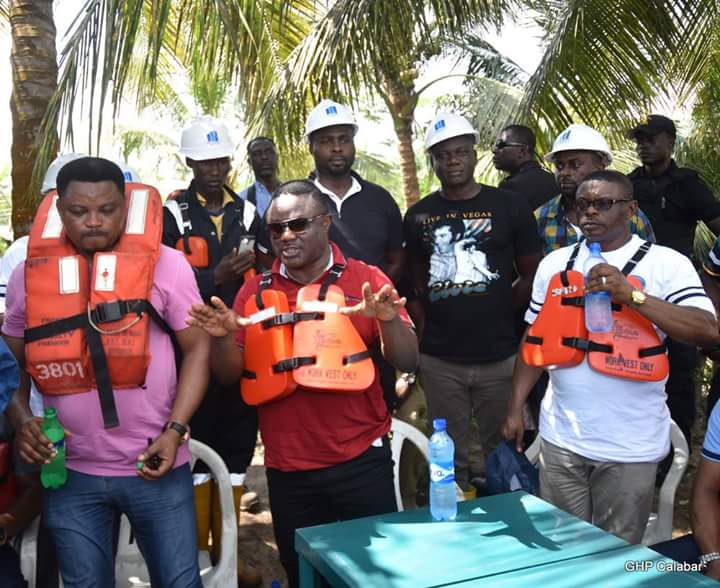 From L-R: Chief of Staff to Cross River Governor, Martins Orim, Governor Ben Ayade and Commissioner for New Cities Development, Barrister George Ekpungu at the proposed Calas Vegas city (Photo Credit; Govt House Calabar/Dan Williams)