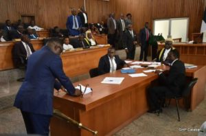 Governor Ben Ayade of Cross River State placing the proposed 2017 budget before the House