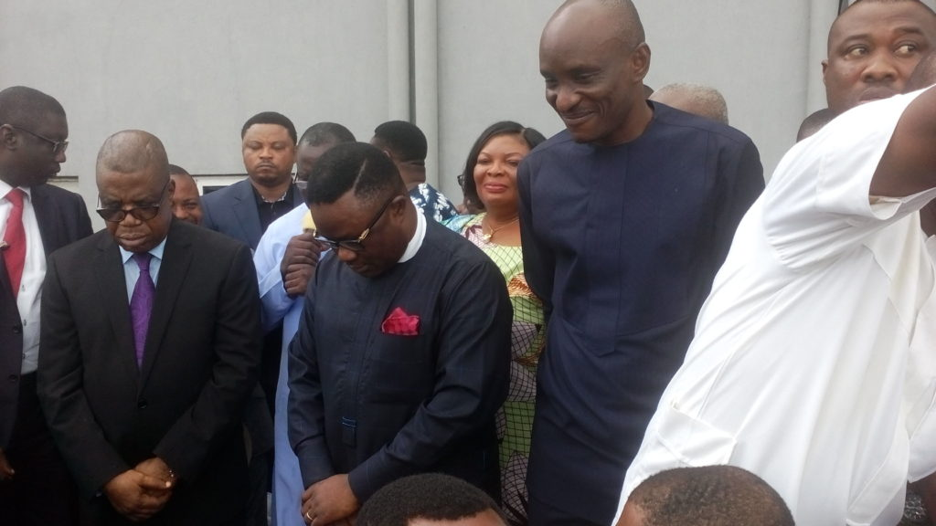 From L-R: Cross River Dep. Governor, Professor Ivara Esu, Governor Ben Ayade and speaker of the house of assembly, Hon. John Lebo receiving prayers shortly after the governors arrival
