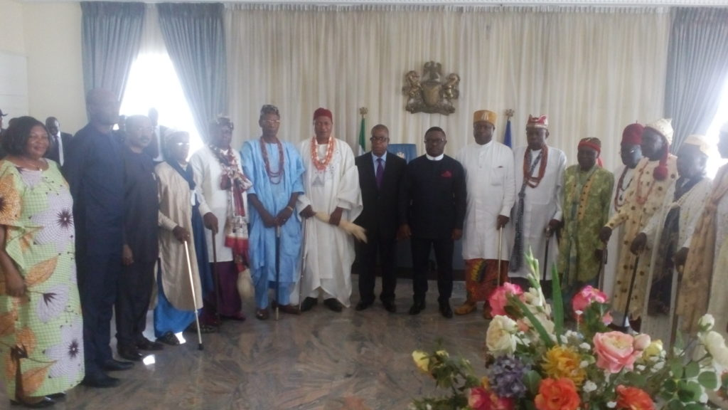 Governor Ben Ayade and his deputy, Professor Ivara Esu flanked both sides by the Traditional Rulers Council delegation