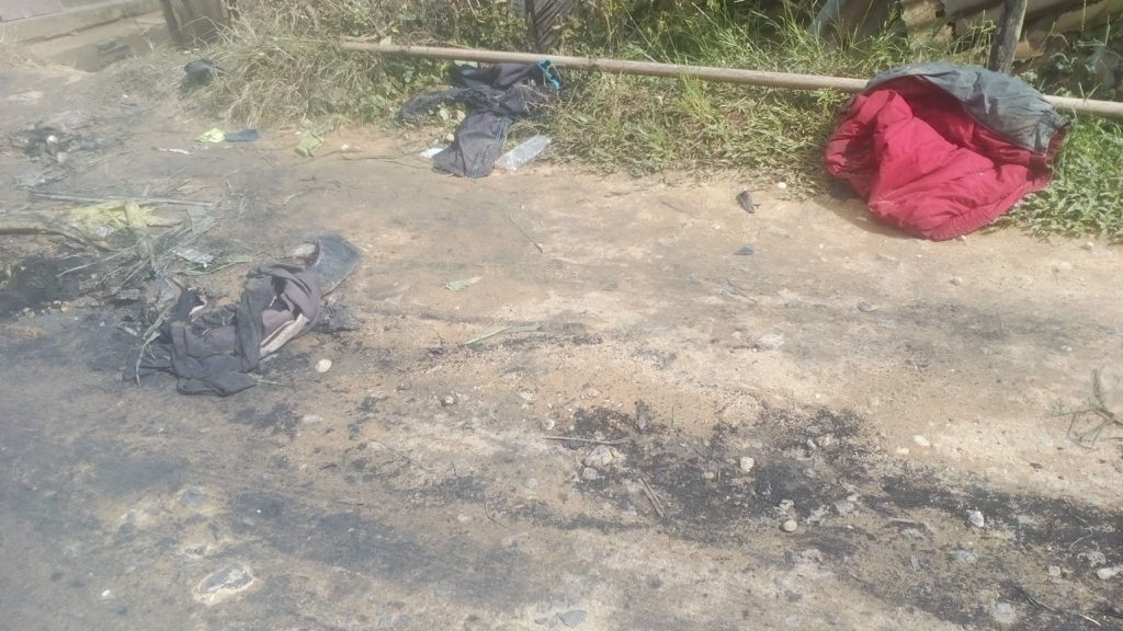 Charred remains where Police van was razed
