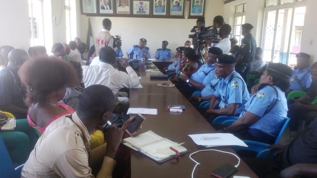 DCP Tunde Gbolarumi addressing journalists