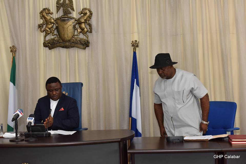 Governor Ben Ayade and the State Chairman of PDP, Ntufam Edim Inok during the visit to the governor's office