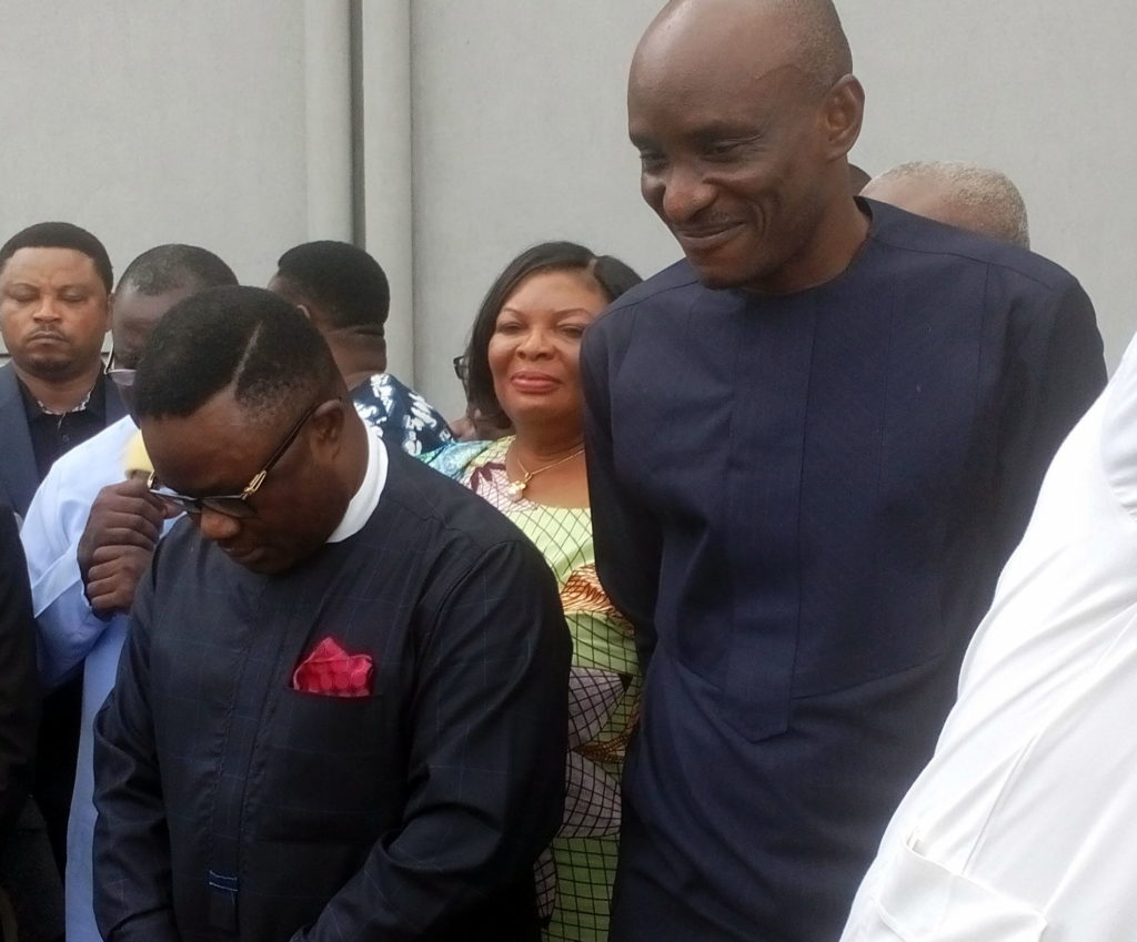 Governor Ben Ayade and Honorable John Lebo bow their heads for Cross Riverians to pray for them recently(File Picture)
