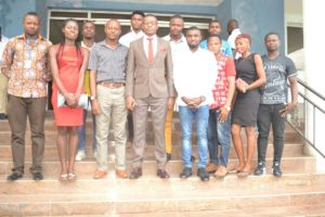 Hon. Peter Odey in a group photograph with the delegation from the National Association of Ogoja Students CRUTECH Chapter