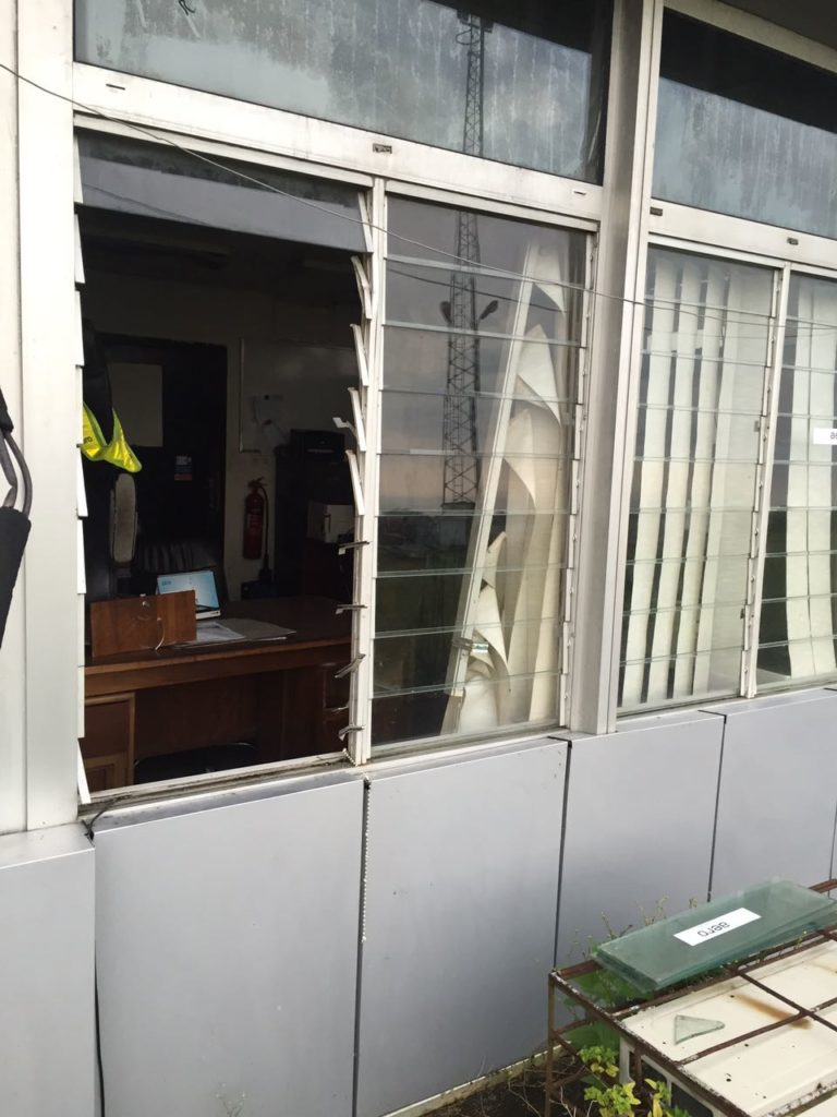 The window the thieves used in gaining entrance