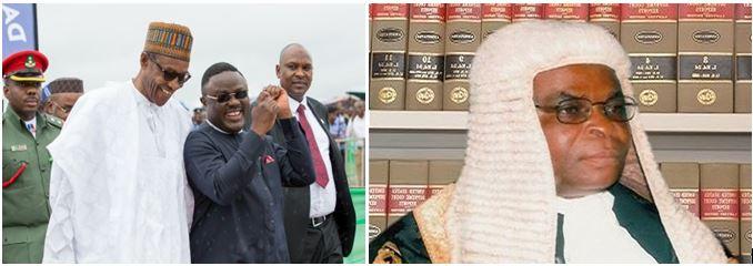 President Muhammadu Buhari, Governor Ben Ayade and Justice Walter Onnoghen