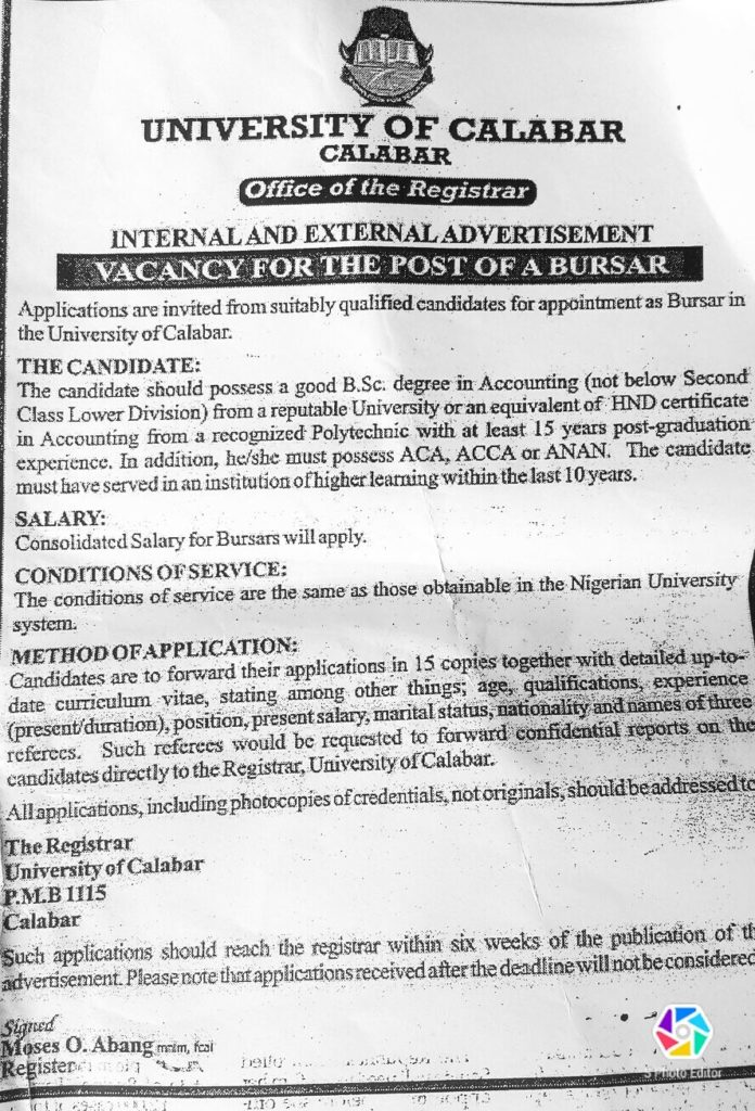 UNICAL Advertises For New Bursar