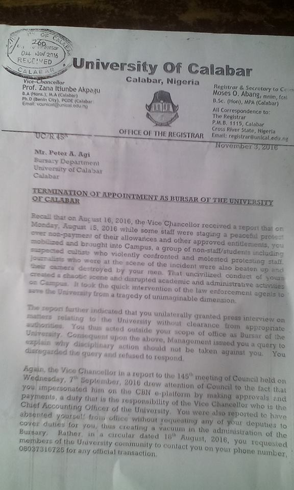 Agi's letter of termination