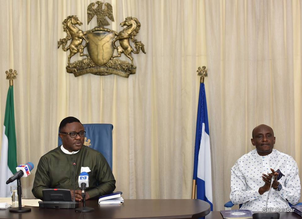 Governor of Cross River State, Senator Ben Ayade (left) and Speaker of the State House of Assembly, Hon. John Gaul Lebo while the governor was signing the Cross River Homeland Security Bill into law, August 19, 2016