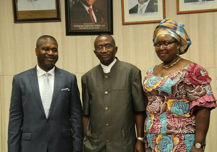 From Left: Dr. Nsima Ekere, NDDC MD, Chairman NDDC Board, Senator Victor Ndoma Egba SAN and the outgone MD, Semenitari Ibim during the resumption of the new Management and Board in Port Harcourt yesterday