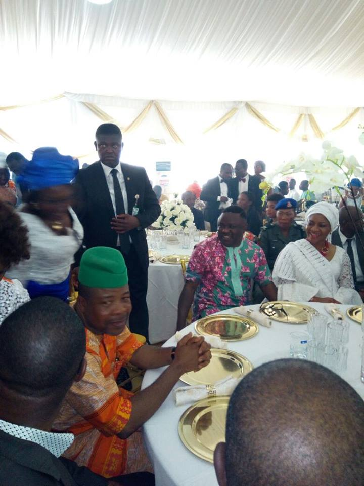 Former Deputy Speaker, House of Representative, Hon. Emeka Ihedioha in greep cap with Governor and Ayade and the wife, Linda