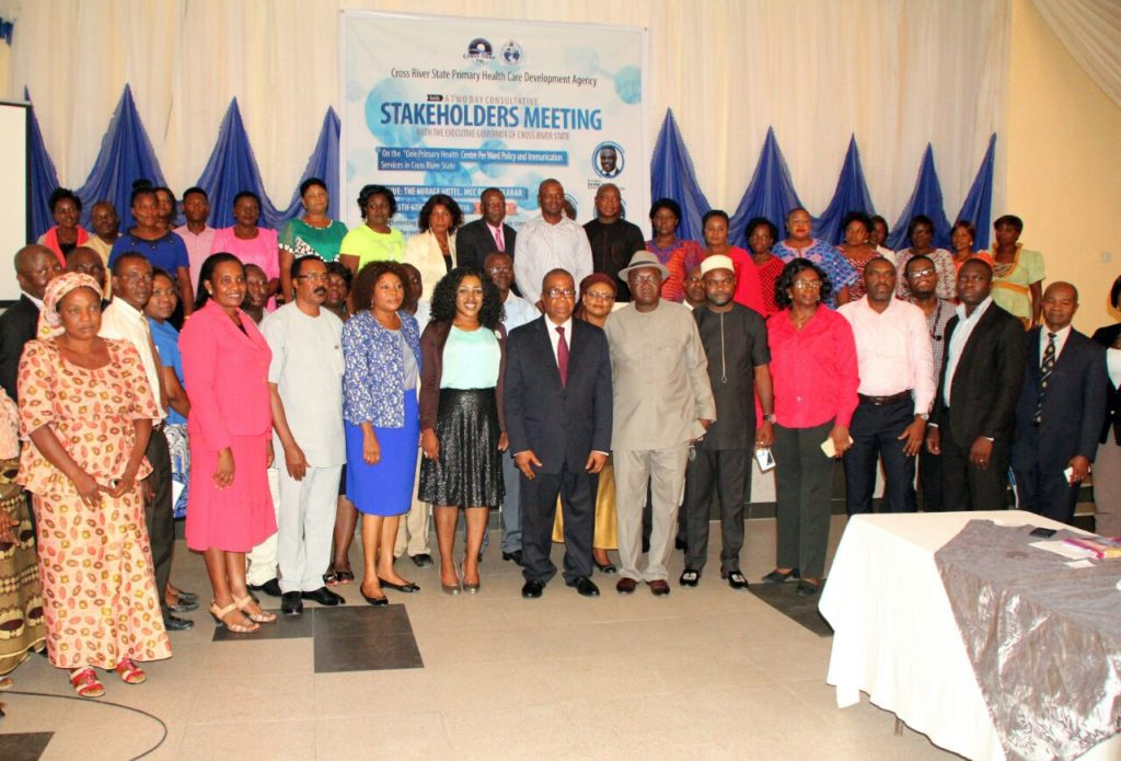 Attendees pose for a photograph after the first day of the meeting with Cross River Deputy Governor, Professor Ivara Esu