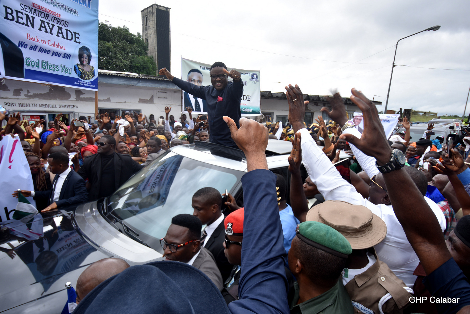 This is usually the atmosphere anytime the governor returns to Calabar (file pix)