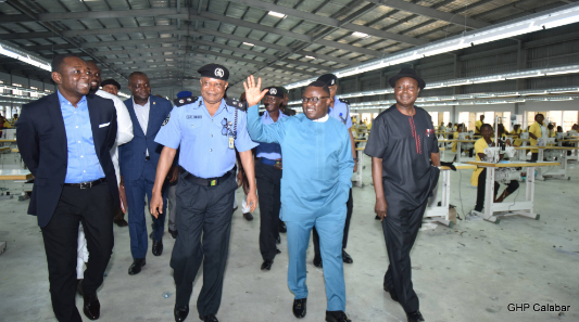 (2nd right) Cross River State Governor, Senator Ben Ayade, (M) Cross River State Commissioner of Police, Mr. Ozi Obeh, (L) State Security Adviser, Mr. Jude Ngaji and (R) Director General, Cross River Infrastructure Company Limited (INFRACROSS) Mr. Eugene Ake, during a visit to Cross River Garment Factory by the Police Commissioner in Calabar.