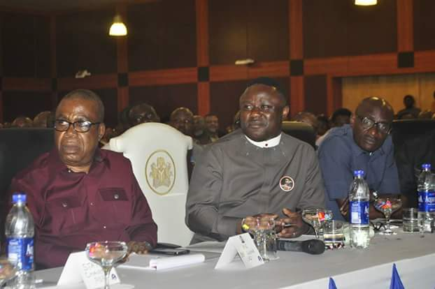 Governor Ben Ayade (middle) his Deputy Ivara Esu (left) and Speaker of the House of Assembly, John Gaul Lebo at the retreat