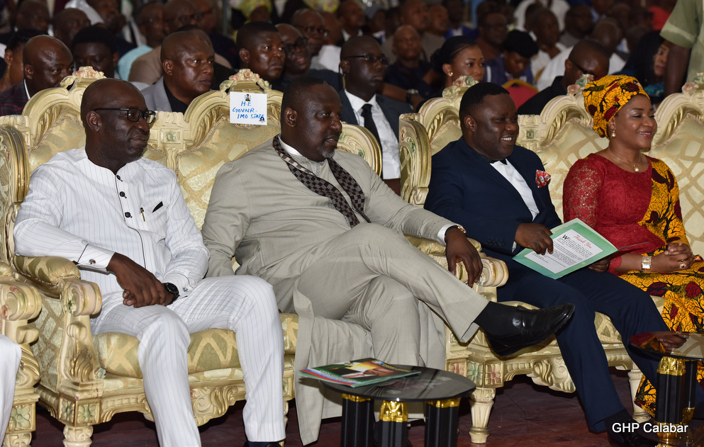 From Left: Edo State Governor, Godwin Obaseki {APC}, Imo State Governor, Rochas Okororcha {APC}, Cross River State Governor, Ben Ayade {PDP} and the Wife of the governor of Cross River State, Linda Ayade at the thanksgiving service by the Minister of Niger Delta Affairs, Usani Usani in Calabar