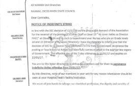 Nurses Begin Indefinite Strike In Cross River Over Promotion Of Governor's Relative