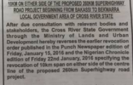 Cross River Government Reverses Order Of Acquisition Of 10km Land On Either Side Of Super Highway