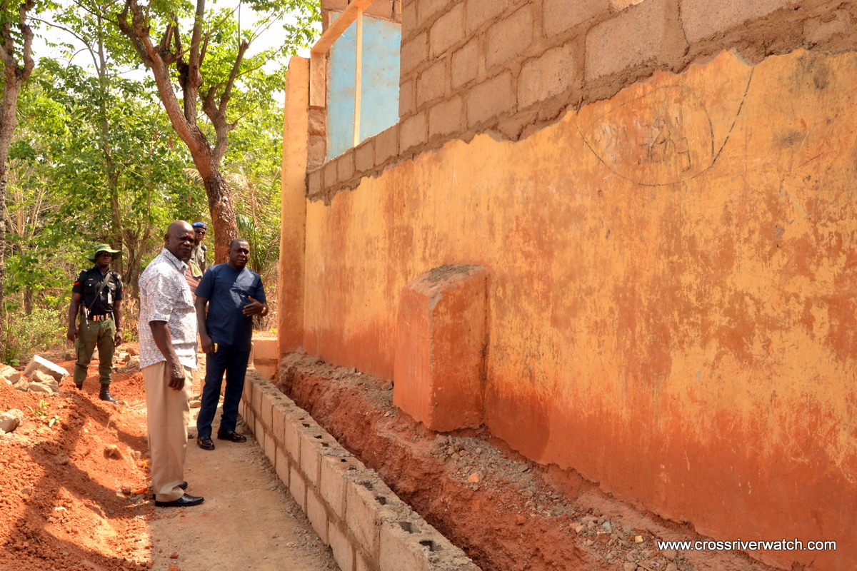 CRSUBEB Chairman, Dr. Stephen Odey and the Director Social Mobilisation inspecting renovation work at the Sacred Heart Primary School Bedia in Obudu, Saturday