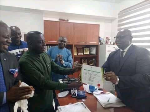 Dr. Stephen Odey receives the certificate of return as winner of the December 5, 2020 senatorial by-election for Cross River North district