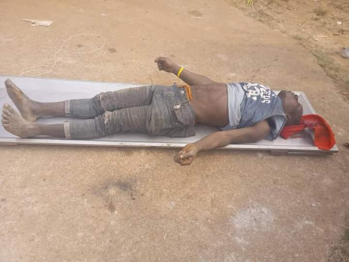 The remains of Mgbe Akore, a victim of the recent clash between Abankang and Nnam communities in Ikom LGA of central Cross River State.