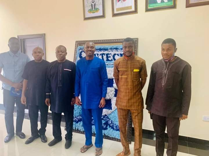 In this photo taken on January 19, 2021, From L-R: CRUTECH Webmaster, Echa Emmanuel; Head, Department of Mass Communication, Cornelius Ellah; Registrar,  Victor Ene; Vice Chancellor, Augustine Angba as well as lecturers in the Department of Mass Communication, Alobo Eba and Victor Ndifon shortly after the inauguration of the CRUTECH Media Team by the Vice Chancellor. (Credit: CRUTECH Press)