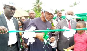Minister for State Power, Goddy Jedy Agba at the commissioning of the 60kWP Solar Hybrid Mini Grid at Okangha Mkpansi, Ikom LGA of Cross River State on Friday, May 6, 2021