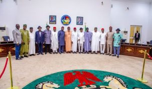 In this picture taken on May 11, 2021 at the Government House, Asaba, 15 of the 17 members of the Southern Nigeria Governors Forum pose for a photograph after a meeting where positions were taken for pressing issues of national concern including grazing, insecurity, restructuring and secessionist agitations. Governors Ben Ayade of Cross River State was absent with no representation.