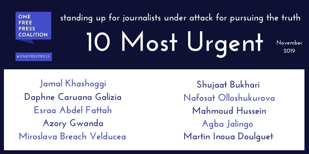 Jalingo was listed amongst the 10 'Most Urgent' cases of threats to press freedom around the world by the #OneFreePressCoalition