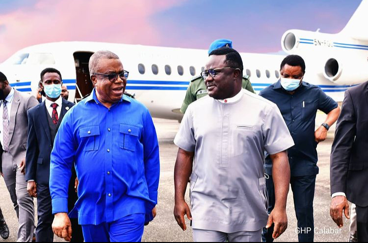 Governor Ben Ayade (R) and his Deputy, Ivar Esu shortly after the Governor's arrival from Abuja at the NAF wing of MGK aboard the PAF Dassault Falcon 7X business jet, 5/7/2021