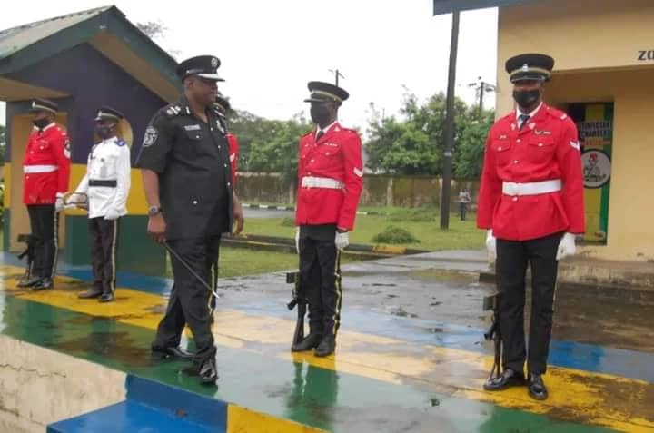 AIG Usman Sule Goman inspects a guard of honour at the Zone 6 police command in Calabar Cross River State on Wednesday August 10, 2021 to signal official resumption of duty (Credit: The PAradise)