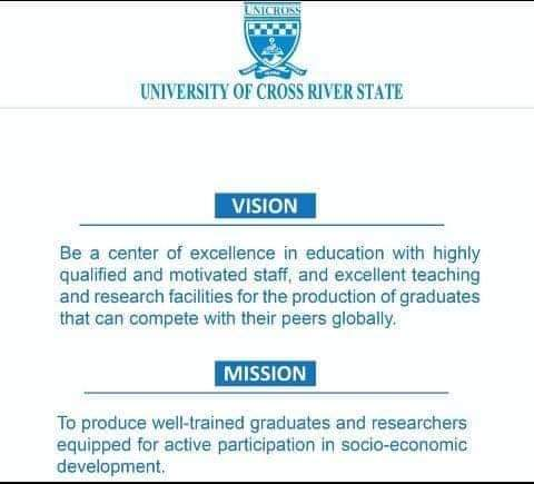 The vision and mission statements of the University of Cross River State